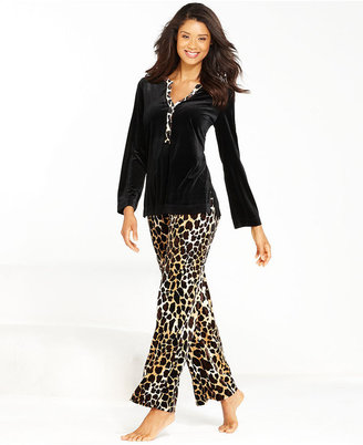 Charter Club Animal Fever Top and Velour Pajama Pants Set