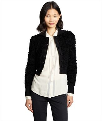 RED Valentino black shag wool cropped jacket