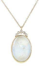 Jamie Joseph Oval Rainbow Moonstone Pendant with Diamonds