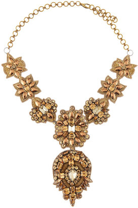 Deepa Gurnani Elbert Golden Bib Necklace, Gold