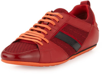 HUGO BOSS Tattion Mesh and Leather Low-Top Sneaker, Red