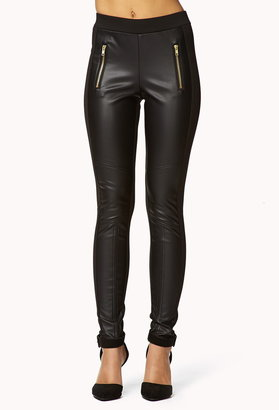 Forever 21 Faux Leather Panel Leggings