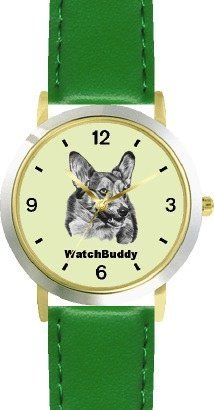 Corgi SC) Dog - WATCHBUDDY® DESIGNER DELUXE TWO-TONE THEME WATCH - Arabic Numbers-EMERALD ISLE STYLE - Light Green Dial with Green Leather Strap-Size-Large ( Men's Size or Jumbo Women's Size )