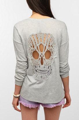 Sparkle & Fade Skull Lace-Back Sweatshirt