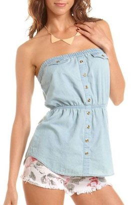 Charlotte Russe Button-Down Denim Tube Top