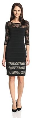 Sangria Women's 3/4 Sleeve Lace Banded Dress