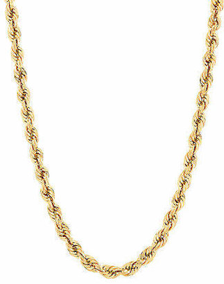 """10K Yellow Gold 22"""" Hollow Rope Chain Necklace Family"""