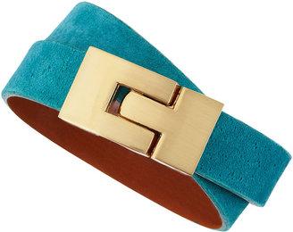 Leighelena Jigsaw Wraparound Suede Bracelet, Turquoise