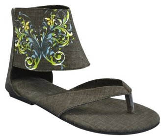 Sun Luks Women's Printed Ankle Cuff Thong Sandal