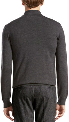 Gucci Wool-Melange Long-Sleeve Polo, Dark Gray