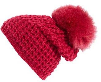 Women's Kyi Kyi Genuine Fox Pompom Hat - Pink $85 thestylecure.com
