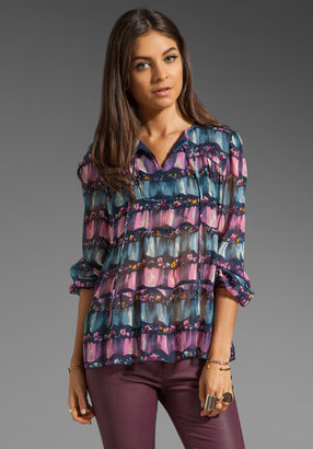 Anna Sui Scattered Floral Ruffle Blouse