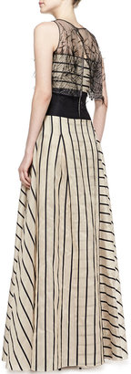 Carolina Herrera Striped Gown with Sleeveless Illusion, Black/Beige