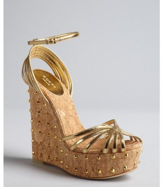 Gucci gold leather sna spiked cork wedge sandals