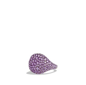 David Yurman Pavé; Pinky Ring with Purple Sapphires in White Gold