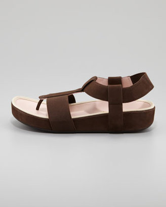 Taryn Rose Elastic Leather Thong Sandal, Teak Brown