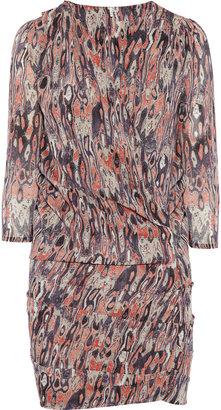 IRO Printed stretch-silk wrap-effect dress