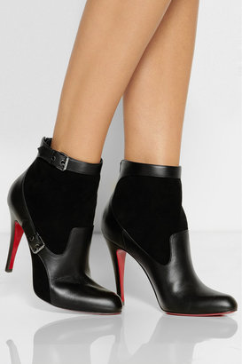 Christian Louboutin Canassone 100 buckled suede and leather ankle boots