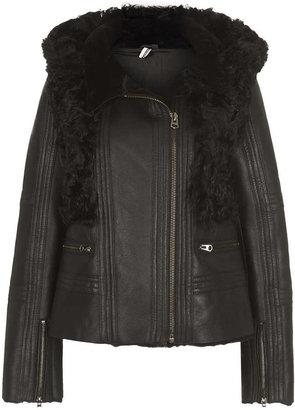 Topshop **Cropped Fur Shearling Jacket