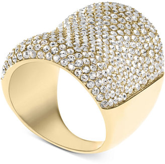Michael Kors Ring, Gold-Tone Glass Pave Concave Ring