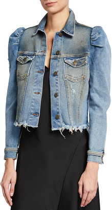 retrofete Rissa Destroyed Denim Puff-Sleeve Jacket