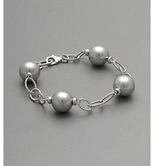 Varella Sterling Silver & Gray Shell Pearl Bracelet