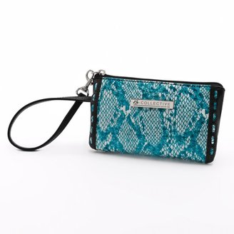 B-Collective by Buxton Margaret Leather Glazed Snakeskin Wristlet