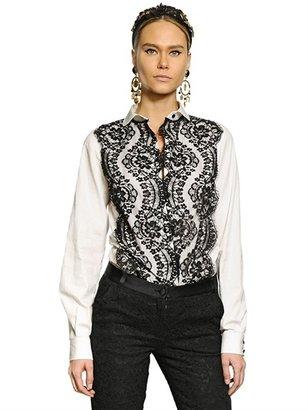 Dolce & Gabbana Lace Cotton Poplin Shirt