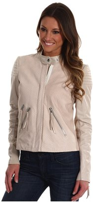 Rebecca Taylor Leather Moto Jacket (Stone) - Apparel