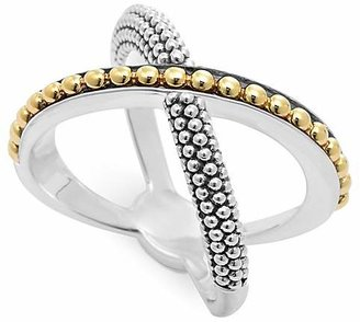 LAGOS 18K Gold and Sterling Silver Enso X Ring $375 thestylecure.com