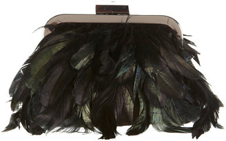 Topshop Black Feather Jewel Clasp Purse