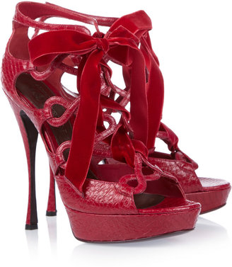 Alexander McQueen Lace-up snakeskin sandals