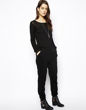 Asos Jumpsuit with Sheer Sleeves - Black