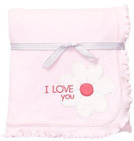 Carter's Baby Girls' Pink Flower Interlock Blanket