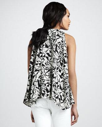 T-Bags T Bags Geometric-Print Beaded Tank Top