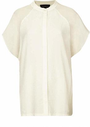 Topshop Tall sheer sleeve crop shirt