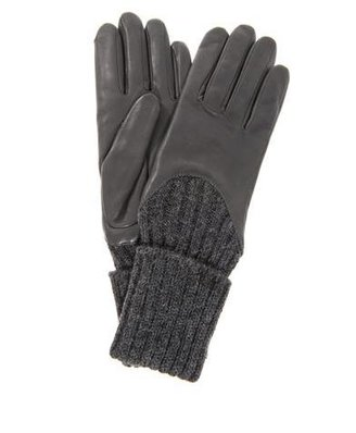 Agnelle Ribbed wool and leather gloves