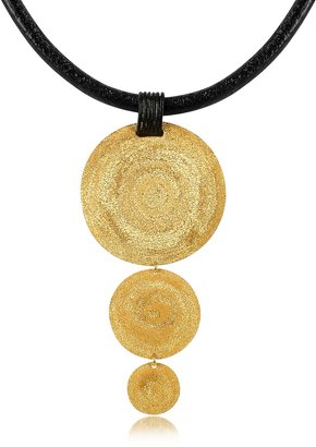 Stefano Patriarchi Golden Silver Etched Triple Round Pendant w/Leather Lace