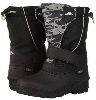 Tundra Boots Kids Quebec (Toddler/Little Kid/Big Kid) (Black/Grey Camo) Boys Shoes