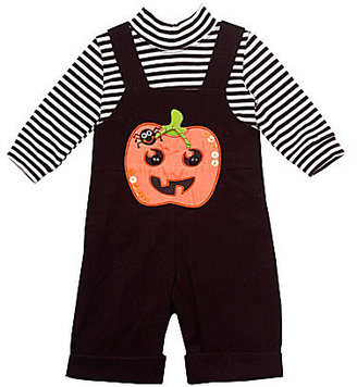 Rare Editions 3-24 Months Halloween Pumpkin Overall Jumper & Bodysuit Set