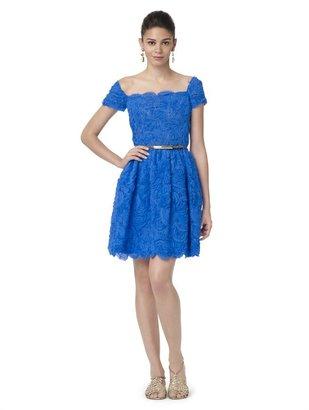 Oscar de la Renta Chiffon Rosette Embroidered Dress