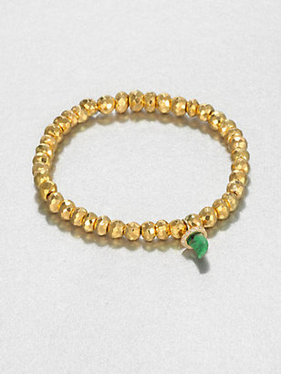 Sydney Evan Jade, Diamond & 14K Yellow Gold Pyrite Beaded Stretch Bracelet