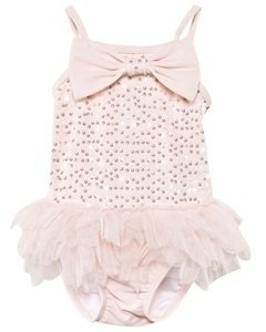 Kate Mack - Biscotti Pale Pink Sequin Bow Tutu Swimsuit