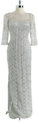 Kay Unger Three Quarter Sleeved Lace Dress