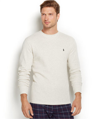 Polo Ralph Lauren Men's Solid Waffle-Knit Crew-Neck Thermal Top $49.50 thestylecure.com