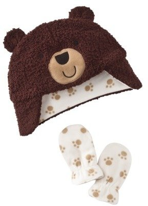 Carter's Just One You® by Boys Bear Hat and Mitten Set - Brown/White