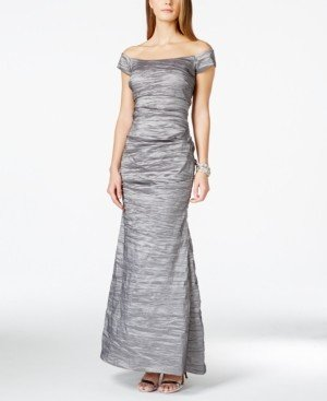 Alex Evenings Off-The-Shoulder Taffeta Crinkled Gown