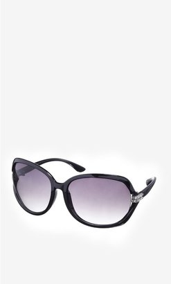 Express Cut-Out Square Pave Embellished Sunglasses