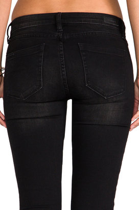 Blank NYC BLANKNYC Black Denim Pant with Leather and Blue Panels