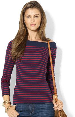 Lauren Ralph Lauren Long-Sleeve Striped Elbow-Patch Top